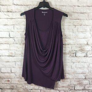Roamans Plus Drape Front Blouse Purple Lg 18/20